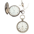 Timepieces:Pocket (post 1900), Waltham & Swiss 18 Size Key Wind Pocket Watches. ... (Total: 2Items)