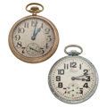 Timepieces:Pocket (post 1900), Waltham Crescent St. & Clinton Open Face Pocket Watches. ...(Total: 2 Items)