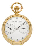 Timepieces:Pocket (pre 1900) , Albert H. Potter & Co. Geneva Rare Gold Watch With RegulatorDial, No. 40, circa 1880's. ...