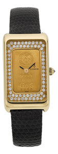 Timepieces:Wristwatch, Corum Gold Ingot Watch With Diamond Dial. ...