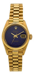 Timepieces:Wristwatch, Rolex Lady's Gold Datejust Ref. 6917 With Lapis Dial. ...