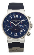 Timepieces:Wristwatch, Ulysse Nardin Marine Chronograph Wristwatch No 0012 Ref. 353-66. ...
