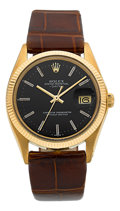 Timepieces:Wristwatch, Rolex Ref. 1503 Gent's Gold Oyster Perpetual Date, circa 1978. ...