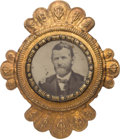 Political:Ferrotypes / Photo Badges (pre-1896), Ulysses S. Grant: Large Belt Buckle Ferrotype....