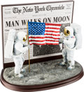"""Explorers:Space Exploration, Apollo 11: """"One Small Step For Man"""" Sculpture of Armstrong andAldrin by Danbury Mint, New in Box. ..."""