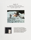 Explorers:Space Exploration, Apollo 15 Lunar Module Flown Beta Cloth Swatch on a Color PhotoPresentation. ...