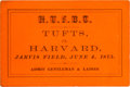 """Football Collectibles:Tickets, 1875 Harvard vs Tufts Football Ticket--First """"Modern"""" Football Game...."""