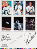 Explorers:Space Exploration, Spaceshots Trading Cards Promo Sheet Signed by Lovell, Conrad, andCernan....
