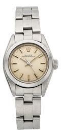 Timepieces:Wristwatch, Rolex Lady's Oyster Perpetual Stainless Steel Wristwatch Ref. 6718....