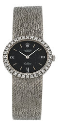 Timepieces:Wristwatch, Rolex Lady's Cellini Ref. 3813 White Gold & Diamonds. ...