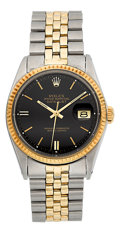 Timepieces:Wristwatch, Rolex Datejust Two Tone Wristwatch Ref. 1601 . ...