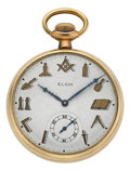 Timepieces:Pocket (post 1900), Elgin Masonic Dial Pocket Watch. ...