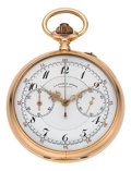 Timepieces:Pocket (post 1900), A. Lange & Söhne Rare & Fine Gold Chronograph WithRegister, circa 1910. ...