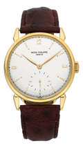 "Timepieces:Wristwatch, Patek Philippe Ref. 1578 Very Fine Large Gold Watch With Rare ""Dot"" Dial, circa 1960. ..."