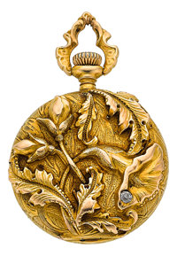 Swiss High Relief Gold Art Nouveau Watch