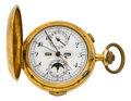 Timepieces:Pocket (post 1900), Swiss 18k Gold Quarter Hour Repeater, Moon Phase Calendar For Repair. ...
