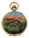 Timepieces:Pocket (post 1900), Swiss Fine Gold Enamel With Tiger Motif, circa 1910. ...