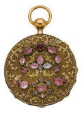 Timepieces:Pocket (pre 1900) , Louis Mestral Fine Multicolor Gold & Gem Set Quarter HourRepeater, circa 1760. ...