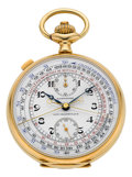 Timepieces:Pocket (post 1900), Longines Very Fine 18k Gold Split Seconds Chronograph WithRegister. ...