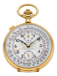 Longines Very Fine 18k Gold Split Seconds Chronograph With Register