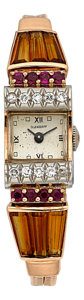 Timepieces:Wristwatch, Ollendorff Retro Citrine, Diamond & Ruby Watch. ...