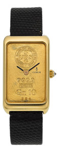 Timepieces:Wristwatch, Corum Gr. 10 Yellow Gold Ingot Watch, Ref. 14400. ...