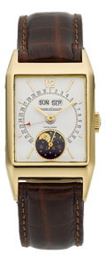 "Timepieces:Wristwatch, LeCoultre ""Serie Unique"" Gold Limited Edition Triple Date MoonPhase Watch, circa 1983. ..."