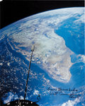 Explorers:Space Exploration, Gemini 11 Large Color Photo of India Signed by Walt Cunningham andOriginally from His Personal Collection. ...