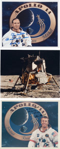 Autographs:Celebrities, Apollo 14 Crew: Individually Signed Color Photos.... (Total: 3 Items)