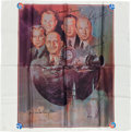 Explorers:Space Exploration, Apollo-Soyuz Test Project Crew Portrait Scarf Directly from thePersonal Collection of Astronaut James Lovell, with Signed...