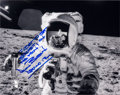 Autographs:Celebrities, Alan Bean Signed Lunar Surface Photo with Unique Inscription Regarding Eating Spaghetti on the Moon, also Includes Signed Note...