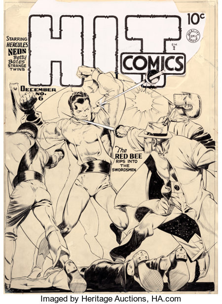 Lou Fine Hit Comics #6 Cover Original Art (Quality, 1940)....