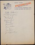Autographs:Bats, 1953-54 New York Knicks Team Signed Sheet....