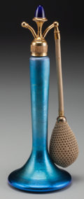 Art Glass:Steuben, A Steuben Blue Aurene Glass Atomizer, Corning, New York,circa 1920. 9-1/2 inches high (24.1 cm). ...