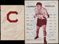 Boxing Collectibles:Autographs, 1950's Carmen Basilio Multi-Signed Program and Sheet....