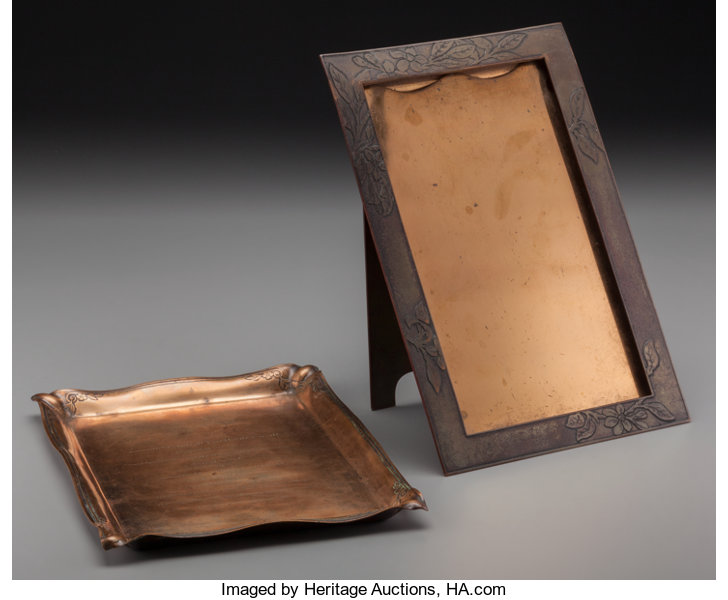 A Tiffany Studios Copper Tray And Picture Frame Corona New Lot