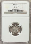 Bust Dimes: , 1834 10C Small 4 XF40 NGC. NGC Census: (16/228). PCGS Population(9/179). Mintage: 635,000. Numismedia Wsl. Price for probl...