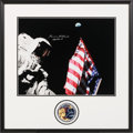 Autographs:Celebrities, Harrison Schmitt Signed Large Apollo 17 Lunar Surface Flag and Earth Color Photo in Framed Display with Mission Insign...