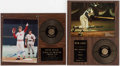 Autographs:Bats, Pete Rose and Hank Aaron Signed Plaques (2)....