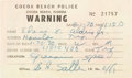 Explorers:Space Exploration, Buzz Aldrin 1970-Dated Cocoa Beach Police Speed Warning. ...