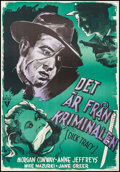 "Movie Posters:Crime, Dick Tracy (RKO, 1946). Swedish One Sheet (27"" X 39.25""). Crime....."