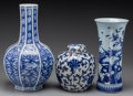 Asian:Chinese, Three Pieces of Chinese Blue and White Ceramic. 17-1/2 inches high(44.5 cm) (tallest). ... (Total: 3 Items)