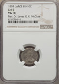 Early Half Dimes, 1803 H10C Large 8, V-1, LM-2, R.4, VG10 NGC. Mintage: 37,850. .From The Rev. D...