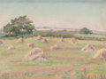 Fine Art - Work on Paper:Drawing, Inez Staub Elder (American, 1894-1991). Haystacks. Pastel onpaper. 6 x 8 inches (15.2 x 20.3 cm). Signed lower left: ...