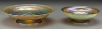 Two Tiffany Studios Quilted Favrile Glass Footed Bowls, Corona, New York, circa 1900 Marks to both: L.C.T.<
