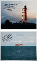 Autographs:Celebrities, Fred Haise Signed Apollo 13 Color Launch Vehicle and Splashdown Photos (Two). ... (Total: 2 Items)