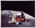 Autographs:Celebrities, Gene Cernan Signed Apollo 17 Lunar Surface LM & LRV ColorPhoto....