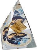 Explorers:Space Exploration, Skylab (SL-1) Flown Fragment of Space Station as Recovered inAustralia, in Lucite Display. ...