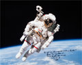 Autographs:Celebrities, Bruce McCandless Signed Large STS-41-B Untethered Spacewalk ColorPhoto....