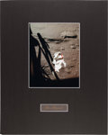 Autographs:Celebrities, Alan Shepard Signature and Apollo 14 Lunar Surface Color Photo inMatted Display....